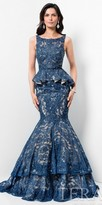 Terani Couture Beaded Lace Peplum Tiered Mermaid Evening Gown