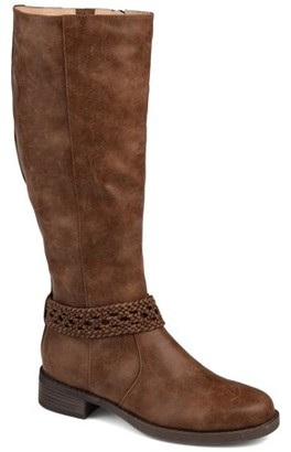 Brinley Co. Womens Braided Strap Riding Boot