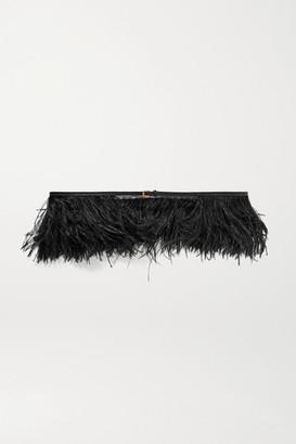 Altuzarra Feather-embellished Leather Belt - Black