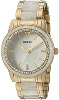 GUESS Women's U0706L3 Dressy Gold-Tone Watch with White Dial , Crystal-Accented Bezel and White Center Link Pilot Buckle