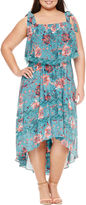 Boutique + + Sleeveless Hi Low Maxi Dress-Plus