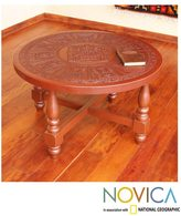 Novica Mohena Wood and Leather 'Andean Heritage' Coffee Table (Peru)