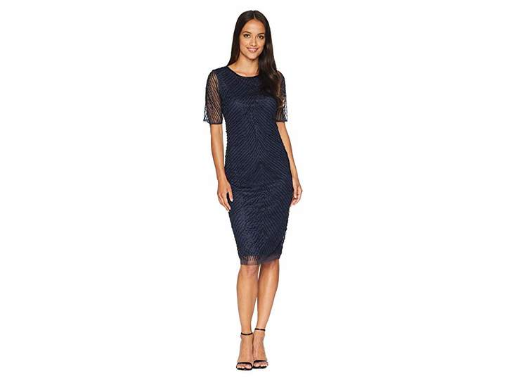Adrianna Papell Short Sleeve Fully Beaded Cocktail Dress