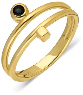 Ana Dyla Toni Ring Gold Vermeil With Onyx