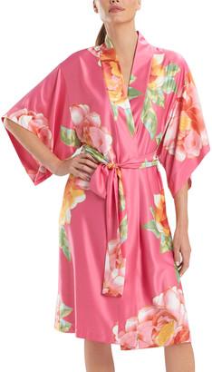 Natori Serafina Floral Print Charmeuse Robe