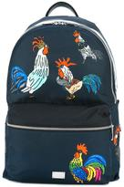 Dolce & Gabbana Volcano rooster print backpack - men - Calf Leather/Polyamide - One Size