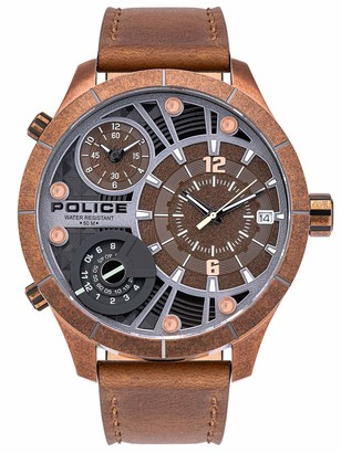 Police Unisex Adult Analogue Quartz Watch with Leather Strap PL15662XSQR.12