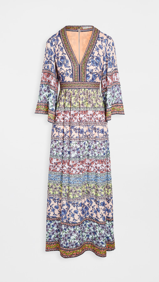Alice + Olivia Lena Embroidered V Neck Kimono Sleeve Dress