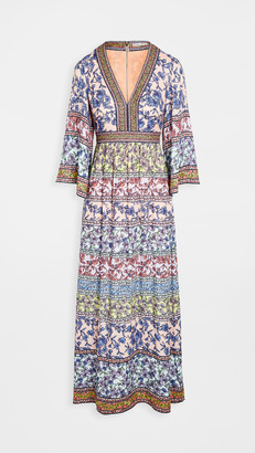 Alice + Olivia Lena Embroidered V Neck Kimono Sleeve Dress