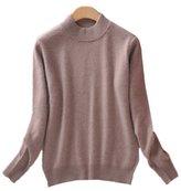 WHENOW Women's Slim Classic Wool Crew Neck Knit Jumper Pullover Sweater L