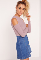 Missguided Cold Shoulder Knit Ribbed Sweater Lilac