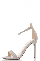 Quiz Grey Diamante Barely There Sandals