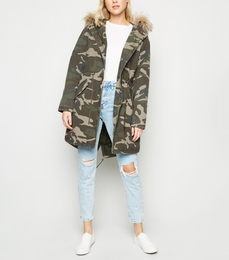 New Look Camo Faux Fur Trim Hooded Parka