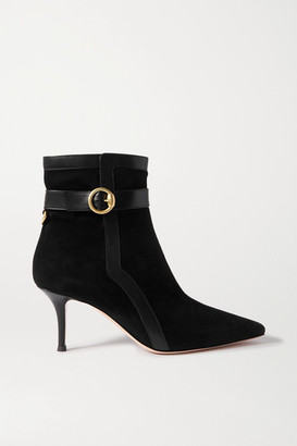 Gianvito Rossi 70 Leather-trimmed Suede Ankle Boots - Black