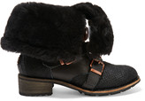 Australia Luxe Collective Eastsider shearling-lined croc-effect pony hair and suede boots