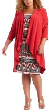 R & M Richards Plus Size 2-Pc. Draped Jacket & Printed Dress Set