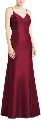Alfred Sung Bow Back Satin Twill Trumpet Gown