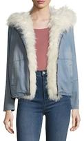 Adrienne Landau Hooded Lamb Fur-Trimmed Jacket