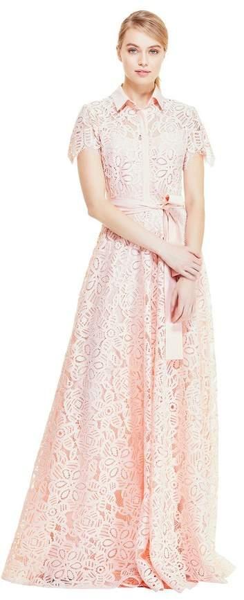 Lela Rose Floral Corded Lace Flutter Sleeve Gown