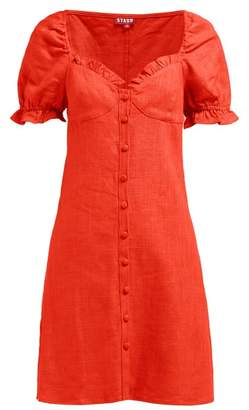 STAUD Ruffle-trimmed Bodice Linen-blend Mini Dress - Womens - Red