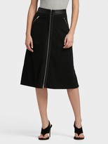 DKNY Midi Skirt With Zipper And Faux Leather Details