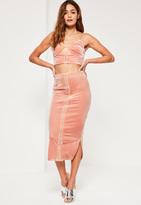 Missguided Pink Velvet Eyelet Detail Front Longline Midi Skirt