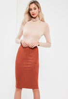 Missguided Faux Suede Midi Skirt Orange