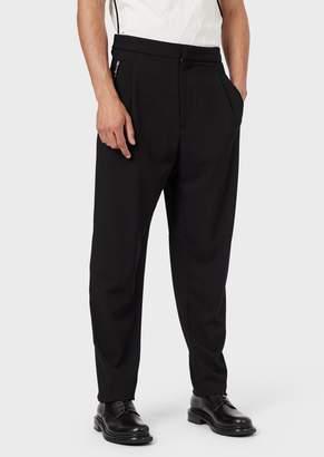 Giorgio Armani Trousers In Stretch Gabardine With Darts