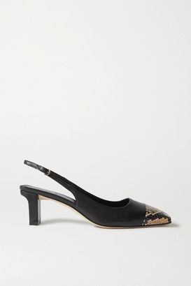 AEYDĒ Drew Snake-effect And Smooth Leather Slingback Pumps - Black