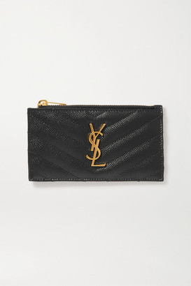 Saint Laurent Monogramme Small Quilted Textured-leather Wallet - Black