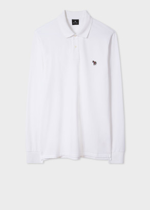 Paul Smith Men's White Organic-Cotton Zebra Logo Long-Sleeve Polo Shirt