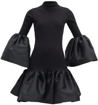 Marques Almeida Puffed-trim Organic Cotton-blend Jersey Dress - Black