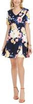 Jessica Howard Petite Printed V-Neck Dress