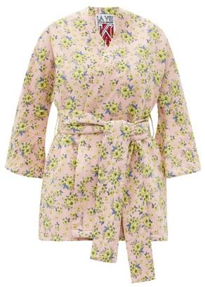 La Vie Style House - No. 481 Floral-jacquard Coverup - Pink Multi