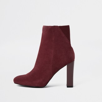 River Island Womens Red smart heeled ankle boots