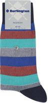 Burlington Striped cotton-blend socks