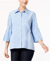 Style&Co. Style & Co Cotton Striped Patchwork Shirt, Created for Macy's