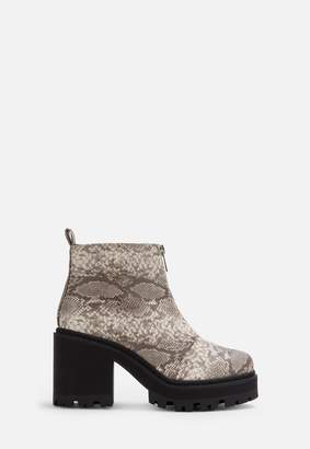 Missguided Black Faux Snake Chunky Cleated Ankle Boots