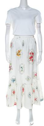 RED Valentino White Floral and Cross Stitch Print Cotton Gathered Skirt Set M