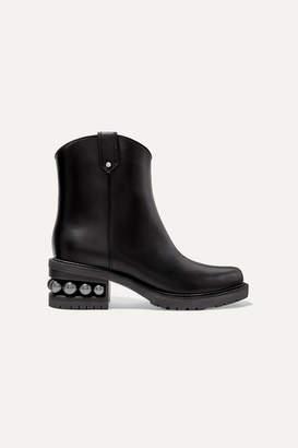 Nicholas Kirkwood Casati Faux Pearl-embellished Leather Ankle Boots - Black