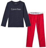 Calvin Klein Navy and Red Branded Pyjama Set