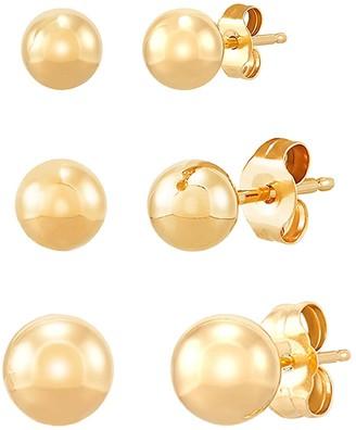 Saks Fifth Avenue 14K Yellow Gold Ball Earrings Set