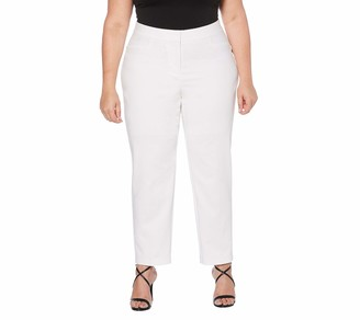 Rafaella Women's Plus Size Lightweight Satin Twill Ankle Pant