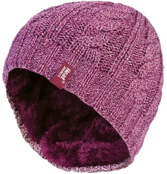Heat Holders - Womens Thermal Fleece Cable knit winter hat 3.4 tog - One Size (Rose)