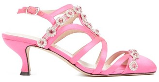 Christopher Kane Multi-strap Crystal-embellished Satin Pumps - Pink