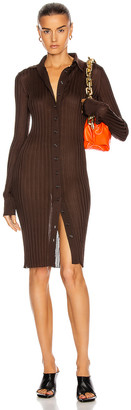 Bottega Veneta Long Sleeve Rib Dress in Chocolate | FWRD