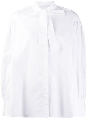 Cavallini Erika pussy-bow cotton shirt