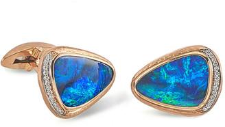Jorge Adeler Men's 18K Rose Gold Opal Doublet Cufflinks w/ Diamonds