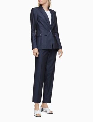 Calvin Klein Chambray 1 Button Peak Lapel Jacket