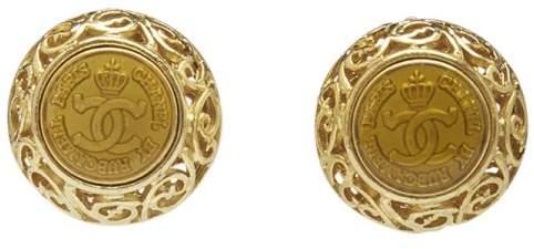 Chanel Gold Tone Lip On Earnings